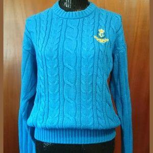 Chap Ralph Lauren Blue Cotton Sweater Size Small